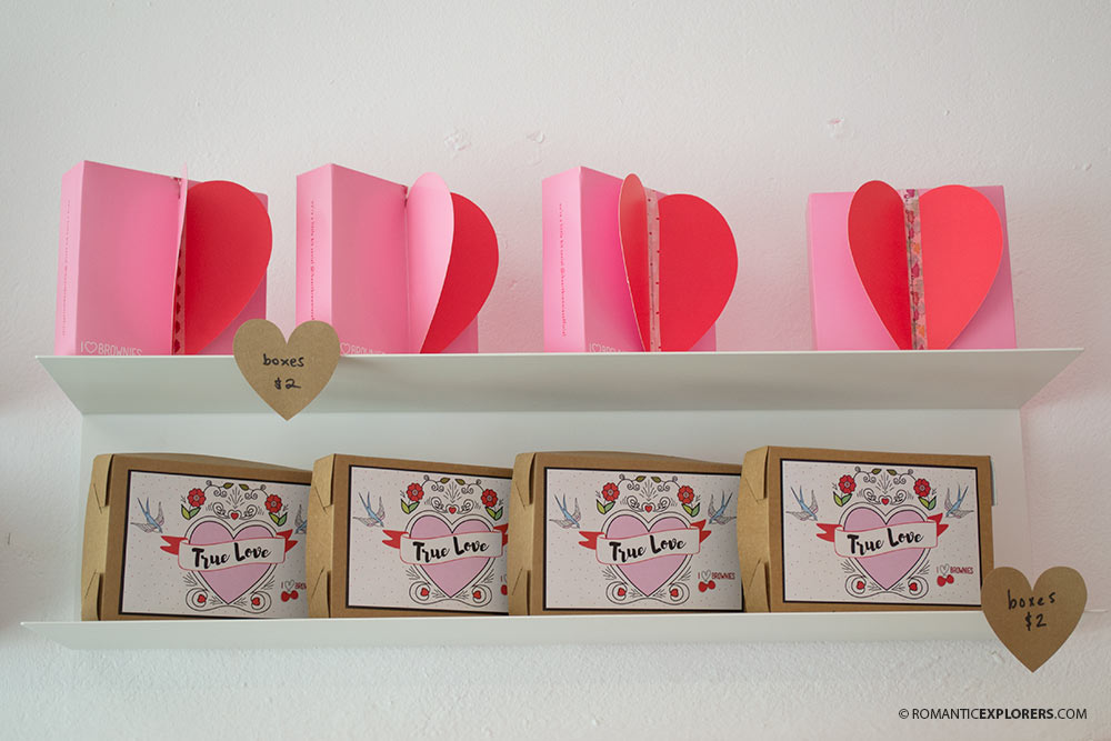 Romantic gift boxes for heart-shaped brownies from I Heart Brownies Cafe and Bakery
