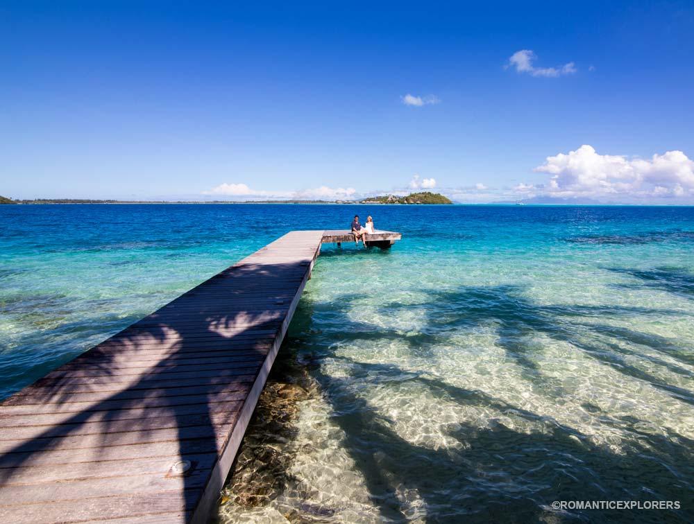 Photo from our romantic photo shoot in Bora Bora taken at Hotel Maitai Polynesia during our honeymoon. Photographer: Stephan Debelle Duplan