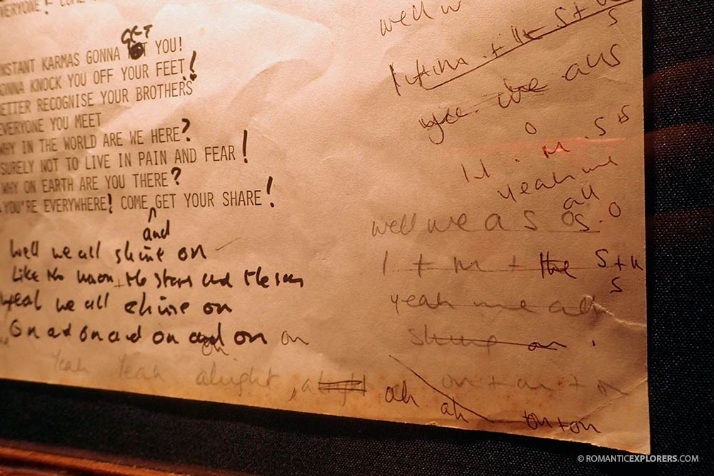 Hand written lyrics by The Beatles