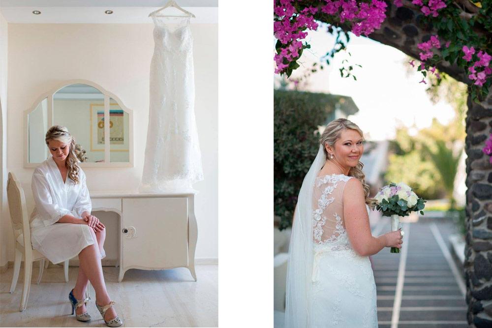 Bridal suite and gardens of El Greco Hotel.
