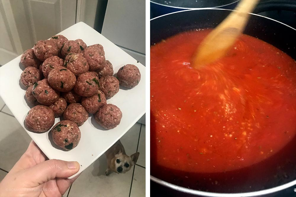 Date night at home - meatballs and sauce