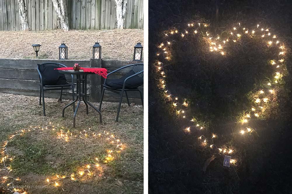 Romantic date night at home setup