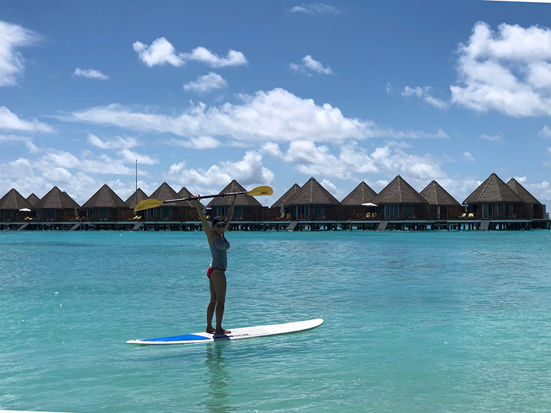 Paddleboarding at Mercure Maldives Kooddoo resort all inclusive