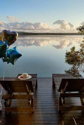 Emarella Shores Noosa Lake Retreat Private Jetty Sunrise view