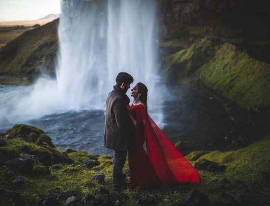 Romantic Iceland Photoshoot at Kvernufoss Waterfall