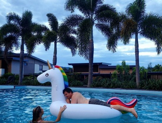 Ride off into the Sunset on an inflatable Unicorn haha
